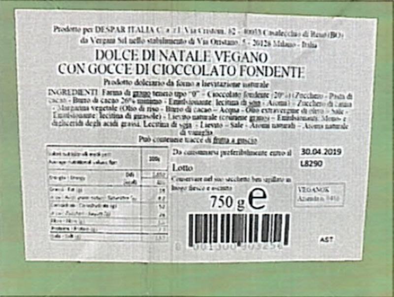 Salute: richiamo dolce di Natale al cioccolato vegano Veggie a marchio Despar