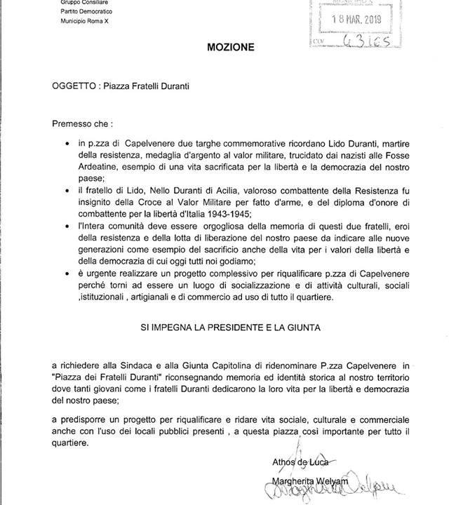"""Il Partito Democratico presenta una mozione per Piazza Fratelli Duranti. Proia (Progetto Duranti): """"Atto importante, parte la battaglia per una nuova Capelvenere"""""""