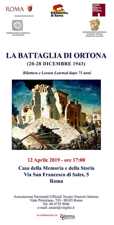 Conferenza sulla Battaglia di Ortona il 12 aprile 2019 ore 17.00 a Roma