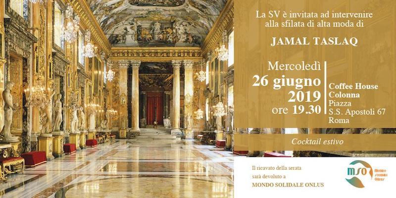 Jamal Taslaq sfila nella Coffee House di Palazzo Colonna per Mondo Solidale Onlus.
