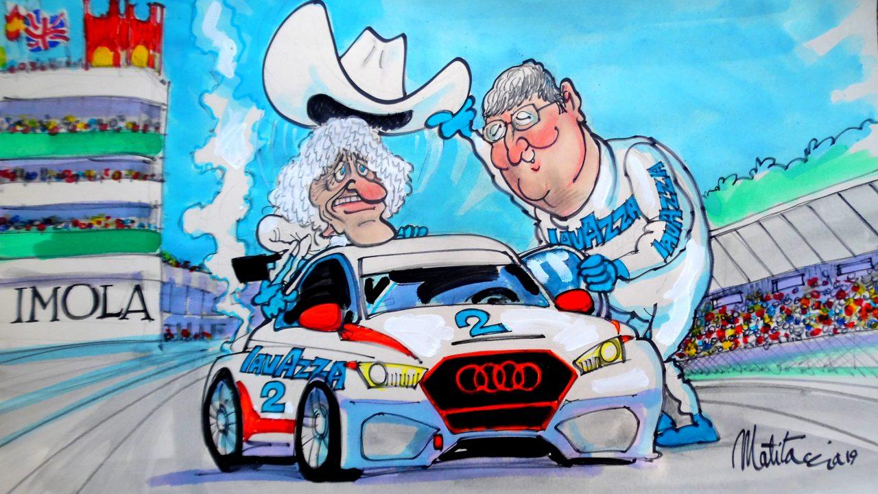 Arturo Merzario a Imola con l'Audi di Costamagna
