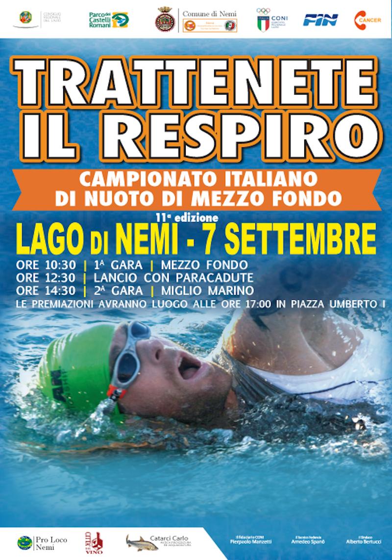 Nemi: torna il Campionato Italiano di Nuoto di Mezzo fondo