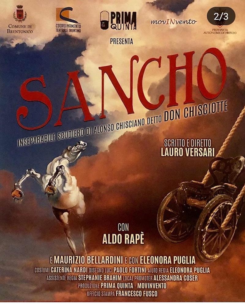 """Il 26 ottobre andrà in scena """"Sancho"""" al Teatro Comunale """"Monte Baldo"""" ore 20.30 a Trento. Scritto e diretto da Lauro Versari."""