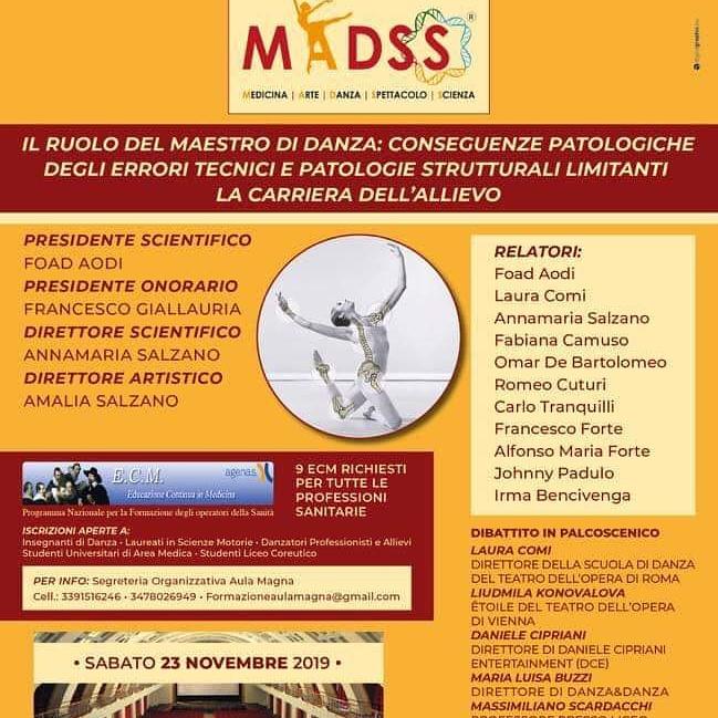 Convegno Nazionale e Gala Premio Madss (Medicina Arte Danza Spettacolo Scienza) VI edizione