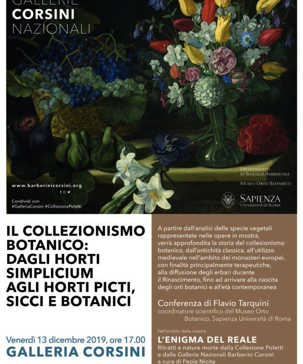 """Galleria Corsini: conferenza di Flavio Tarquini """"Il Collezionismo Botanico: dagli Horti Simplicium agli Horti picti, sicci e botanici"""""""