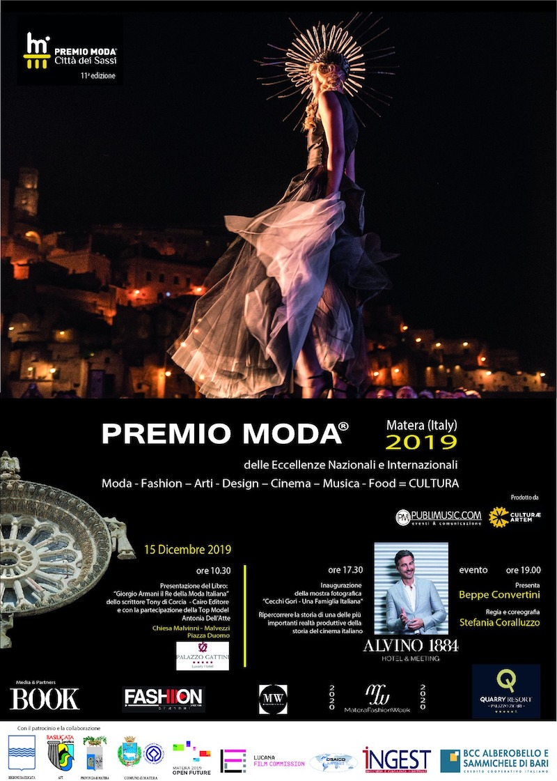 """Premio Moda """"Città dei Sassi"""" 2019 – 11^ edizione. Premio delle Eccellenze Nazionali e Internazionali  Moda – Fashion – Arti – Design – Cinema – Musica – Food"""