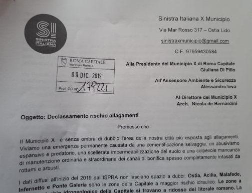 Sinistra Italiana X Municipio: Rischio allagamenti.