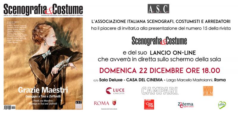 """""""Scenografia&Costume"""": presentazione della rivista online, domenica 22 dicembre ore 18.00 alla Casa del Cinema"""