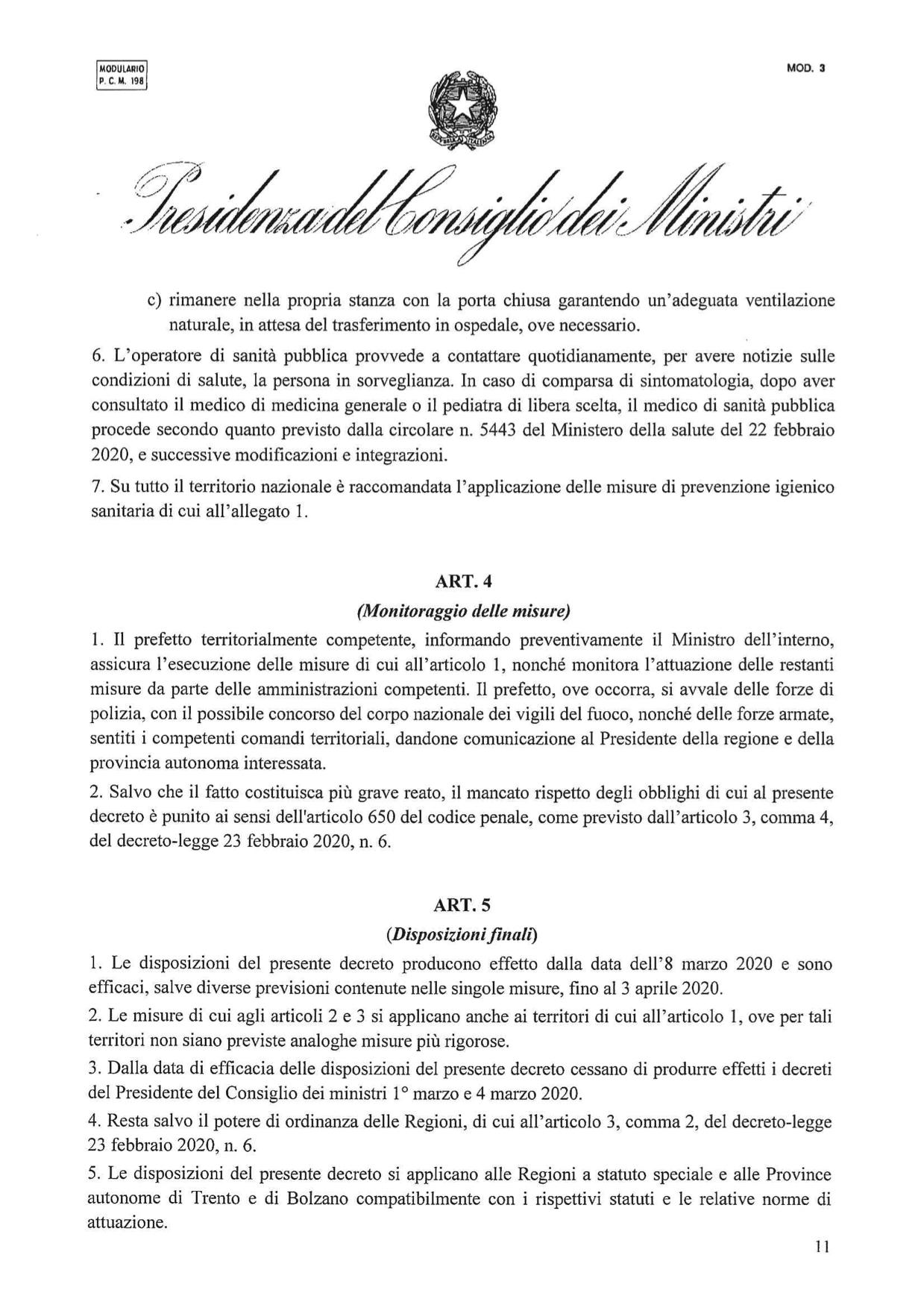 Gazzetta Ufficiale – Serie Generale n. 59 del 8-3-2020, Decreti Presidenziali: Decreto del Presidente del Consiglio dei Ministri, 8 marzo 2020
