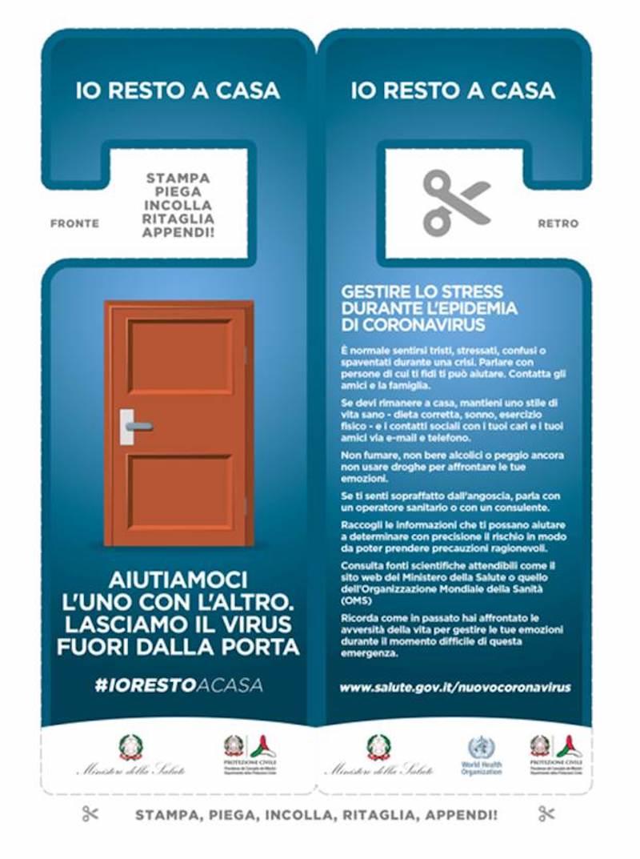 Covid-19, la campagna #iorestoacasa arriva su porte e portoni