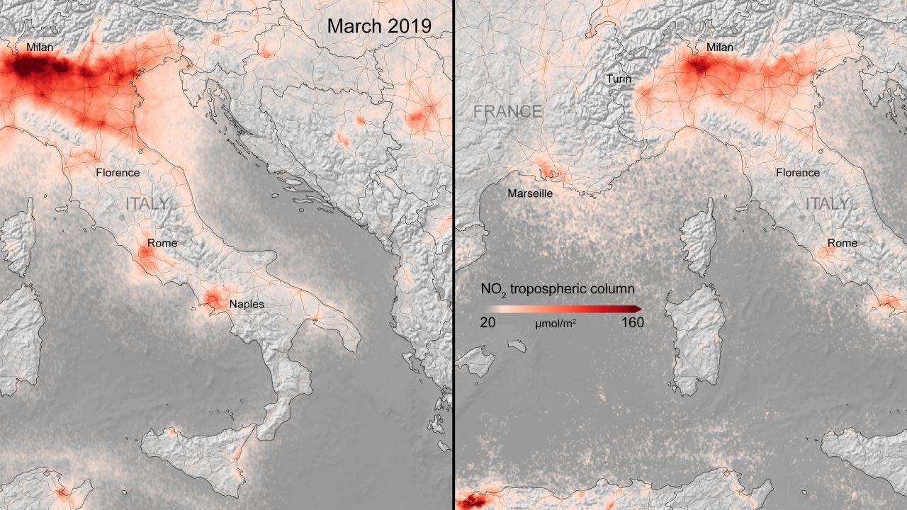 La chiusura per fronteggiare il Coronavirus ha portato ad una riduzione dell'inquinamento in tutta Europa