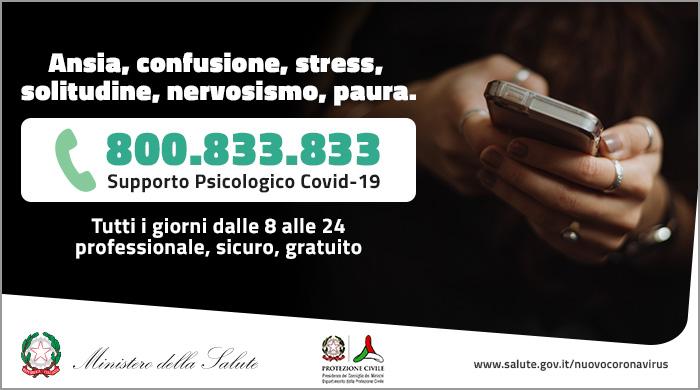 Covid-19: nasce 800.833.833 il numero verde di supporto psicologico