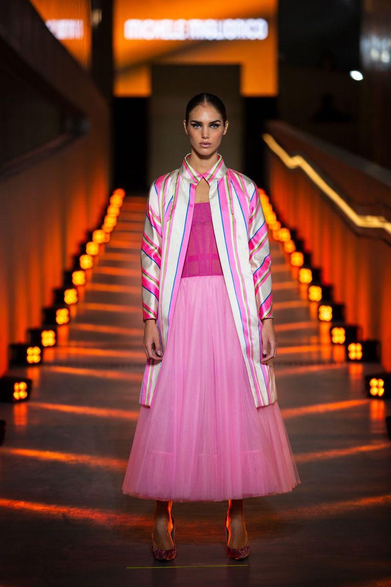 Lo stilista Michele Miglionico ospite all'Evening Dress Show ha presentato la sua capsule collection s/s 2021 alla Stazione Marittima Zaha Hadid di Salerno