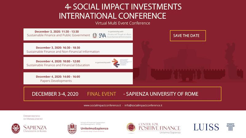 Quarta edizione della Social Impact Investments International Conference – 3 e 4 dicembre 2020