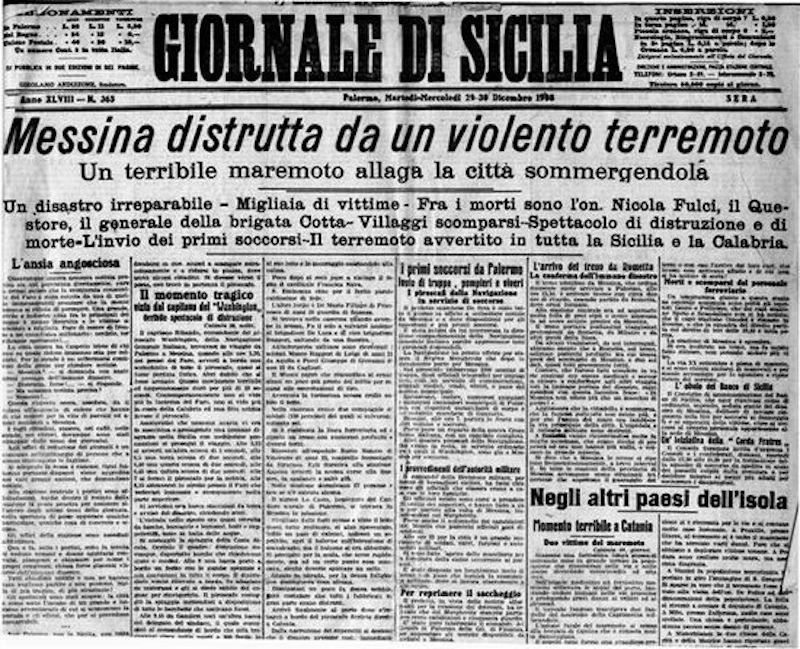 28 Dicembre 1908 – Il terremoto ed il maremoto in Calabria e Sicilia