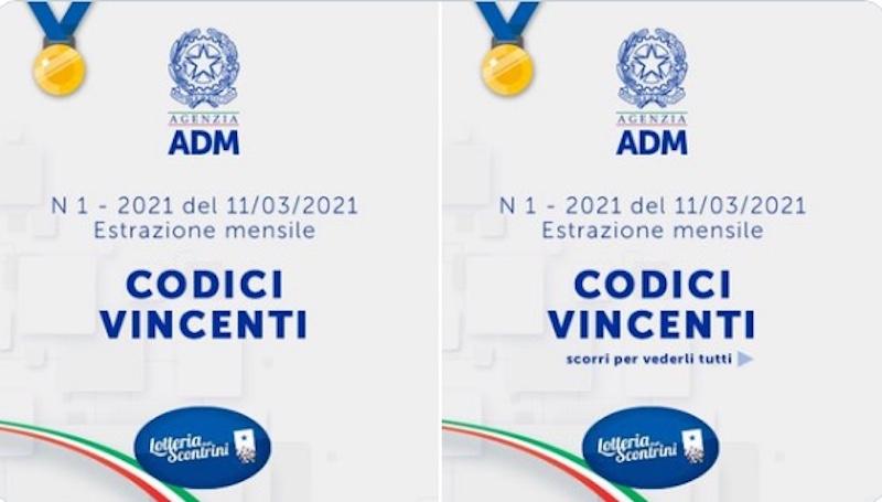 ADM – Roma, Estratti i 10 codici vincenti del Concorso mensile N°1 – 2021 di Lotteria degli Scontrini