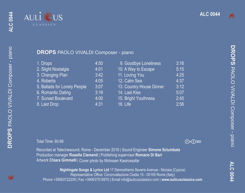 """Esce per Aulicus Classics il nuovo disco del compositore Paolo Vivaldi, dal titolo """"Drops"""" – Paolo Vivaldi– pianoforte"""