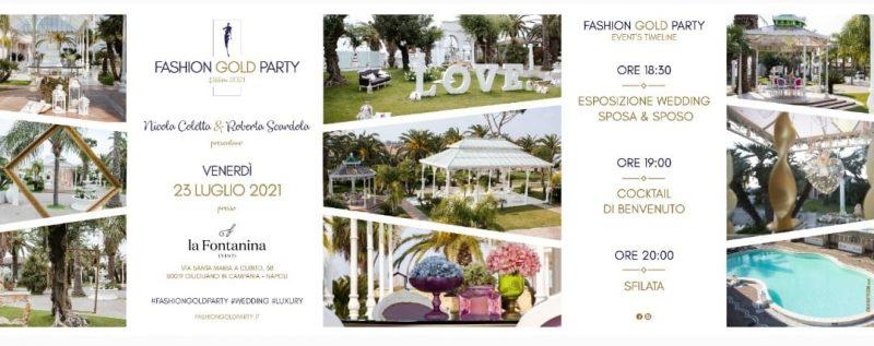 Fashion Gold Party wedding: la nona edizione a La Fontanina Events il 23 luglio